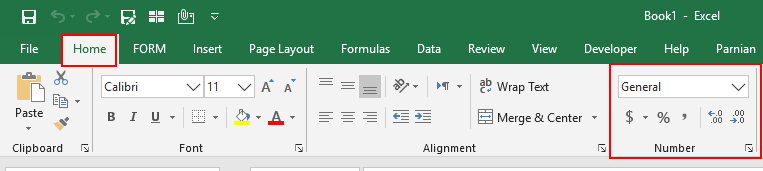 Number Section On Home tab in excel