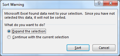 Sort warning in Excel