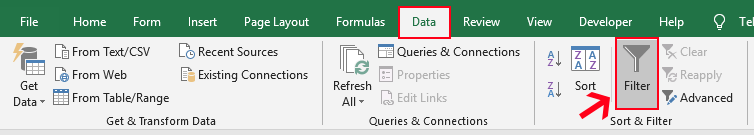 Use Filter on Excel