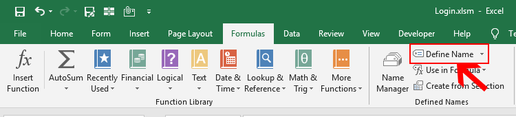 Define Name in Excel