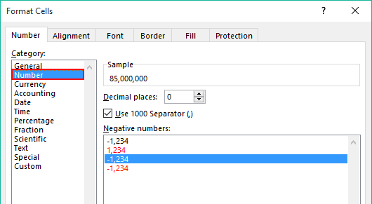 Use Number Format in Format cells in Excel